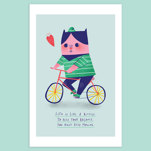 Life is Like Riding a Bicycle Giclée Print - Minifanfan