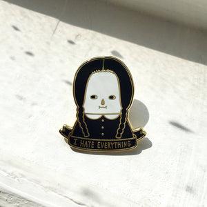 I Hate Everything - Wednesday Addams Enamel Pin (Golden) / Limited Edition