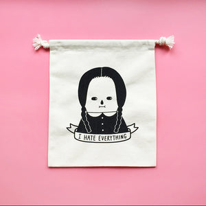 I Hate Everything - Wednesday Addams Silkscreen Drawstring Pouch