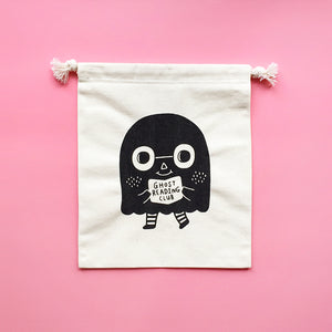 Ghost Reading Club Silkscreen Drawstring Pouch