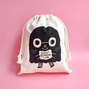 Ghost Reading Club Drawstring Pouch