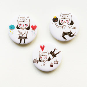 Kawaii Neko Girl Button Badge or Magnet