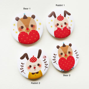 Kawaii Bear and Rabbit Button Badge or Magnet