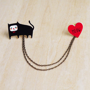 The Cat's Meow Collar Pins with Double Chain / Made to Order
