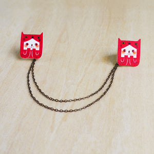 Veela The Big Red Cat Collar Pins with Double Chain / Made to Order