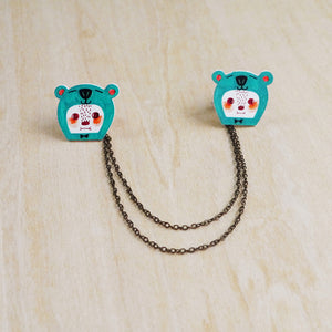 Mr. B The Sea Green Bear Collar Pins with Double Chain / Made to Order