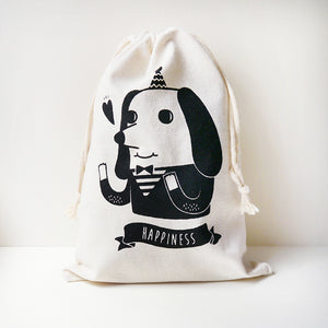 Happiness Dog Drawstring Pouch