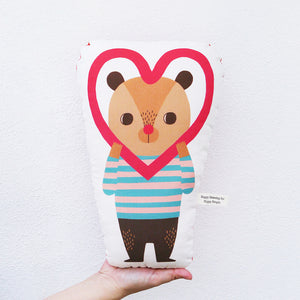 Bear with Love Frame Stuffed Pillow