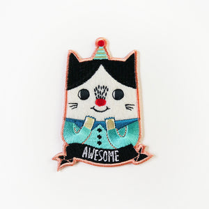 Awesome Cat Iron On Patch