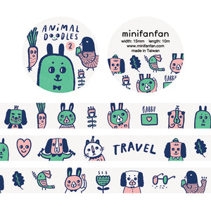 Animal Doodles 2 Washi Tape / Limited Edition