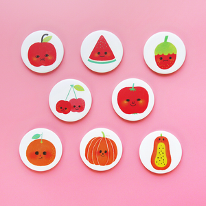 Happy Fruits Button Badge or Magnet - Minifanfan
