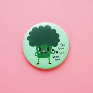 Eat Good and Grow Well The Broccoli Button Badge or Magnet - Minifanfan