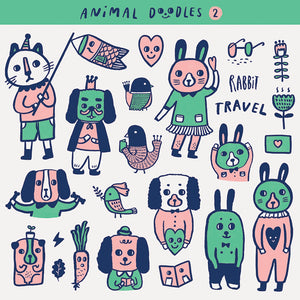 Animal Doodles 2 Sticker Set - Minifanfan