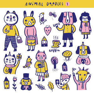 Animal Doodles 1 Sticker Set