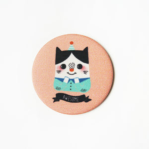 Awesome Cat Fabric Covered Pocket Mirror