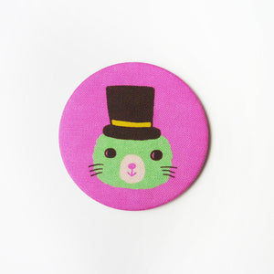 Love Animals (Little Green) Fabric Covered Pocket Mirror