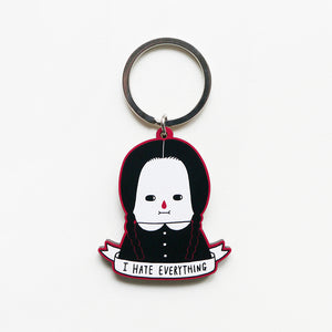 I Hate Everything - Wednesday Addams Printed Wooden Keychains