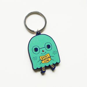 Ghost Reading Club Printed Wooden Keychains