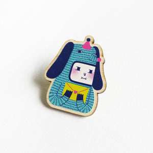 Fifi The Furry Printed Wooden Pin Badges
