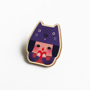 The Cat Girl Printed Wooden Pin Badges