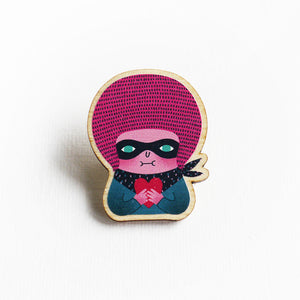 The Masked Girl Printed Wooden Pin Badges
