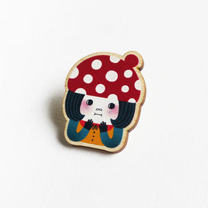 Little Red Mushroom Printed Wooden Pin Badges