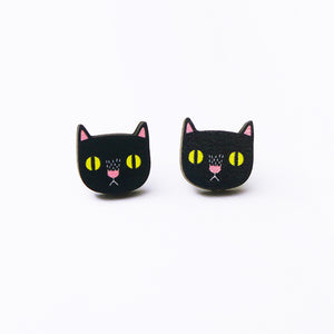 Black Cat Printed Wooden Earrings