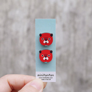 Cute Pug Printed Wooden Earrings