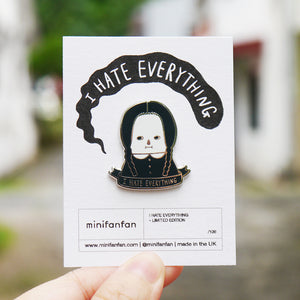 I Hate Everything - Wednesday Addams Enamel Pin (Silver) / Limited Edition
