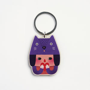 The Cat Girl Printed Wooden Keychains