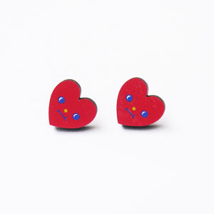 Sweet Love Printed Wooden Earrings