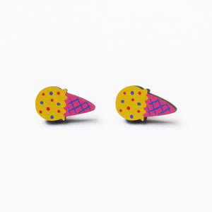 Yellow Ice Cream Printed Wooden Earrings