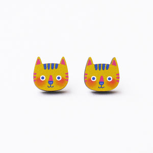 Momo The Yellow Cat Printed Wooden Earrings