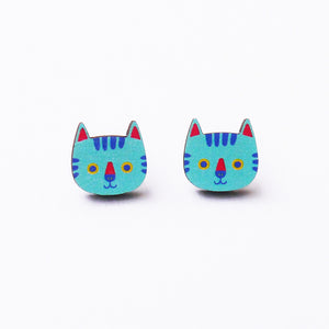 Mimi The Blue Cat Printed Wooden Earrings