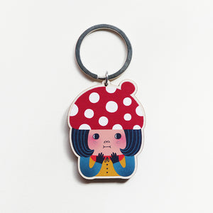 Little Red Mushroom Printed Wooden Keychains