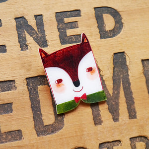Fantastic Fox Shrink Plastic Brooch or Magnet / Made to Order