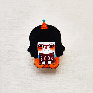 Anne The Bookworm Shrink Plastic Brooch or Magnet / Made to Order