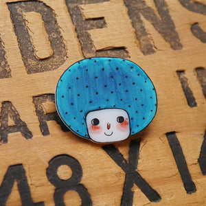 Minifanfan The Blue Bob Girl Shrink Plastic Brooch or Magnet / Made to Order