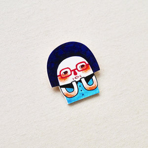Naveen The Free Spirit Girl Shrink Plastic Brooch or Magnet / Made to Order