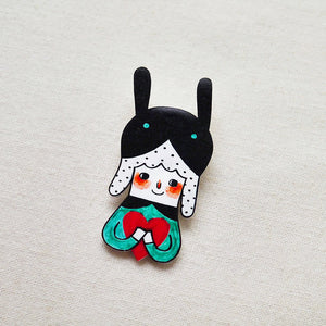 Sherry The Rabbit Girl with Love Shrink Plastic Brooch or Magnet / Made to Order