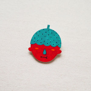 Axel The Strawberry Man with X-Ray Eyes Shrink Plastic Brooch or Magnet / Made to Order