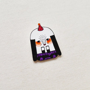 Baobei The Shy Dog Shrink Plastic Brooch or Magnet / Made to Order