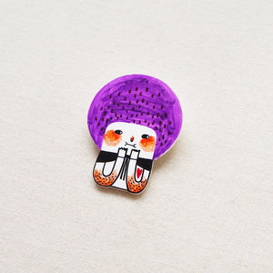 Hetty The Purple Bob Girl Shrink Plastic Brooch or Magnet / Made to Order