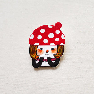 Little Red Mushroom Shrink Plastic Brooch or Magnet / Made to Order