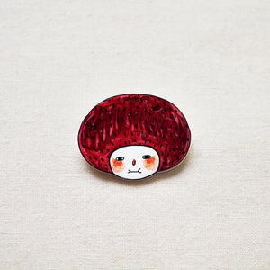 Minifanfan The Red Bob Girl Shrink Plastic Brooch or Magnet / Made to Order