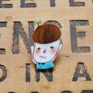 The Eco Guy Shrink Plastic Brooch or Magnet / Made to Order
