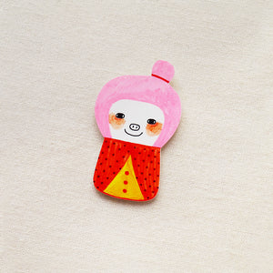 Aiko The Pinky Girl Shrink Plastic Brooch or Magnet / Made to Order