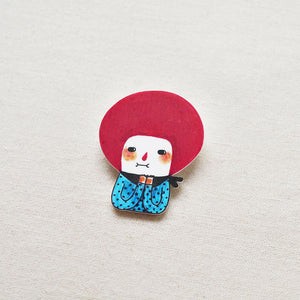 Molly The Red Bob Girl Shrink Plastic Brooch or Magnet / Made to Order