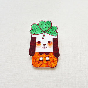 Bobby with Three Leaf Clover Shrink Plastic Brooch or Magnet / Made to Order