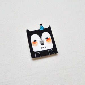 Chocolate The Party Cat Shrink Plastic Brooch or Magnet / Made to Order